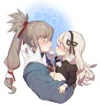 1girl carrying dress female_my_unit_(fire_emblem_if) fire_emblem fire_emblem_if grey_hair hairband long_hair mamkute my_unit_(fire_emblem_if) pointy_ears ponytail simple_background smile takumi_(fire_emblem_if) white_background white_hair younger zuizi