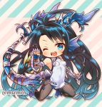 1girl ;d arm_up armpits bangs bare_shoulders black_hair black_legwear blue_eyes blue_footwear blue_gloves blue_hair blush breasts china_dress chinese_clothes commentary_request diagonal-striped_background diagonal_stripes dragon_girl dragon_horns dragon_tail dress eyebrows_visible_through_hair fingerless_gloves gauntlets gloves gradient_hair head_fins horns karin_(p&d) kneeling long_hair looking_at_viewer marshmallow_mille medium_breasts multicolored_hair one_eye_closed open_mouth pantyhose puzzle_&_dragons ribbon shoes sleeveless sleeveless_dress smile solo spikes tail tail_ribbon twitter_username very_long_hair white_dress white_ribbon