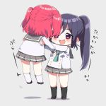 2girls :d aqua_neckwear black_legwear blue_hair blush chibi commentary_request double-breasted grey_background highres kneehighs kurosawa_ruby lifting_person long_sleeves love_live! love_live!_sunshine!! mashiro_(rikuya) matsuura_kanan miniskirt multiple_girls neckerchief open_mouth pleated_skirt ponytail redhead school_uniform serafuku simple_background skirt smile standing translation_request two_side_up uranohoshi_school_uniform violet_eyes white_legwear