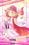 1girl :d adjusting_clothes adjusting_hat artist_name black_legwear blonde_hair blue_eyes braixen hand_up hat jacket konna-nani open_mouth pink_hat pokeball_symbol pokemon pokemon_(anime) pokemon_(creature) pokemon_(game) pokemon_xy pokemon_xy_(anime) red_eyes red_jacket serena_(pokemon) short_hair skirt smile standing sylveon thigh-highs white_skirt