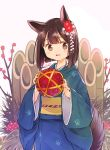 1girl animal_ears ball bangs blush brown_hair commentary dog_ears fingernails flower hair_between_eyes hair_ornament hands_up highres holding holding_ball japanese_clothes kadomatsu kimono looking_at_viewer miya9 multicolored multicolored_clothes multicolored_kimono open_eyes open_mouth original paw_print_pattern plant short_hair solo standing