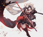 1girl armor armored_dress bag bangs black_cape black_dress black_legwear blonde_hair breasts cape chains commentary_request dress eyebrows_visible_through_hair fate/grand_order fate_(series) flag fur_trim gauntlets gloves grey_background grin headpiece highres holding holding_flag holding_sword holding_weapon jeanne_alter jeanne_d'arc_(alter)_(fate) jeanne_d'arc_(fate)_(all) lack large_breasts outstretched_arms parted_lips ruler_(fate/apocrypha) short_hair simple_background smile solo standing standing_on_one_leg sword thigh-highs torn_cape weapon