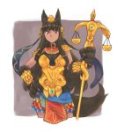 1girl alternate_costume animal_ears anubis_(monster_girl_encyclopedia) armor bangs belt_collar black_hair boobplate breasts closed_mouth commission contrapposto cropped_legs egyptian eyebrows_visible_through_hair fur gold_armor hair_ornament highres holding ignacio_penailillo large_breasts looking_at_viewer monster_girl monster_girl_encyclopedia paws pelvic_curtain purple_background red_eyes scale scale_armor snake_hair_ornament solo spaulders standing tail vambraces wolf_ears wolf_tail