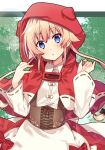 1girl :o animal_hood apron bangs black_bow blonde_hair blue_eyes blush bow capelet commentary_request corset eyebrows_visible_through_hair fingernails hair_between_eyes hair_bow hands_up head_tilt hood hood_up hooded_capelet little_red_riding_hood little_red_riding_hood_(grimm) long_hair long_sleeves looking_at_viewer omuretsu parted_lips red_capelet red_skirt ribbon-trimmed_capelet ribbon-trimmed_sleeves ribbon_trim shirt skirt solo very_long_hair waist_apron white_apron white_shirt