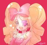 1girl :d blonde_hair bow breasts character_request cleavage drill_hair eyepatch fingernails hair_bow harime_nui index_finger_raised kill_la_kill looking_at_viewer mika_pikazo one_eye_covered open_mouth pink_background pink_bow pink_eyes signature simple_background smile solo twin_drills twintails upper_body