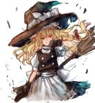 apron black_hat blonde_hair bow broom buttons chobi_(sakuyasakuhana) gloves hair_bow hat hat_bow head_tilt kirisame_marisa looking_at_viewer simple_background sketch smile touhou vest waist_apron white_background white_bow witch_hat yellow_eyes