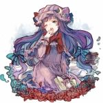 1girl blue_eyes blush book book_stack capelet chobi_(sakuyasakuhana) colored crescent dress fangs flower gradient gradient_background hair_ornament hair_ribbon hat long_hair long_sleeves mob_cap one_eye_closed open_book open_mouth patchouli_knowledge purple_dress purple_hair ribbon rose sitting sketch solo star touhou white_background yawning