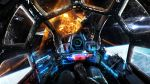 aerial_battle battle cockpit commentary controller dogfight explosion highres holographic_monitor johnson_ting joystick original pilot_suit planet pov science_fiction space space_craft