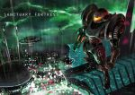 1girl armor cityscape clenched_hand clouds commentary_request dark_suit full_body glowing gun helmet metroid power_armor power_suit rain samus_aran science_fiction signature solo standing text thunder weapon zuma_(zuma_yskn)