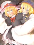 2girls absurdres akabeco black_eyes black_gloves black_hat blonde_hair blue_bow blue_eyes blue_ribbon blush bow breasts chromatic_aberration closed_mouth cookie_(touhou) elbow_gloves eyebrows_visible_through_hair fang gloves hat hat_bow hat_ribbon highres kirisame_marisa large_breasts looking_at_viewer looking_away meguru_(cookie) multiple_girls parted_lips puffy_short_sleeves puffy_sleeves red_bow red_ribbon ribbon short_sleeves smile touhou witch_hat yuuhi_(cookie)