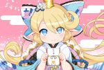1girl blonde_hair blue_eyes bow charlotta_(granblue_fantasy) crown eyebrows_visible_through_hair eyes_visible_through_hair flipped_hair granblue_fantasy hair_bow harbin hirob816 holding japanese_clothes large_bow long_hair looking_at_viewer otoshidama pointy_ears smile solo upper_body