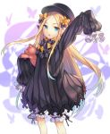 1girl :o abigail_williams_(fate/grand_order) arm_up bangs black_bow black_dress black_hat blonde_hair bloomers blue_eyes blue_hair bow butterfly dress eyebrows_visible_through_hair fate/grand_order fate_(series) forehead gradient_hair hair_bow hat highres long_hair long_sleeves looking_at_viewer mokyu multicolored_hair object_hug orange_bow parted_bangs parted_lips polka_dot polka_dot_bow sleeves_past_wrists solo stuffed_animal stuffed_toy teddy_bear underwear very_long_hair white_bloomers