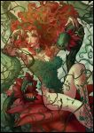 1girl absurdres artist_name batman_(series) black_border border breasts cleavage dc_comics green_eyes green_nails highres large_breasts lipstick long_hair makeup mauricio_mora nail_polish open_mouth parted_lips plant poison_ivy red_lips redhead sharp_teeth sitting solo teeth vines