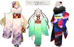 3girls blonde_hair blue_eyes fate/grand_order fate_(series) floral_print flower fur_trim hair_flower hair_ornament hair_ribbon highres japanese_clothes jeanne_d'arc_(alter)_(fate) jeanne_d'arc_(fate)_(all) jeanne_d'arc_alter_santa_lily kimono long_hair multiple_girls nozaki_tsubata ribbon scowl short_hair silver_hair simple_background sketch smile spider_lily white_background yellow_eyes