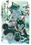 1girl akeome animal_ears bangs bayashiko black_eyes black_hair blunt_bangs commentary_request dog dog_ears facial_mark flower fur_collar happy_new_year highres holding japanese_clothes kimono long_sleeves looking_at_viewer new_year original snow snowing solo tanuki torii wide_sleeves year_of_the_dog
