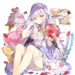 1girl bat_wings black_wings blush bouquet breasts cake cleavage dress eyebrows_visible_through_hair flower food gloves hand_on_own_cheek heart heart_pillow holding holding_bouquet jewelry lavender_hair leg_garter long_hair looking_at_viewer miss_barbara neck_garter official_art pendant petals pillow pointy_ears rose_petals sheep sitting smile solo tears transparent_background uchi_no_hime-sama_ga_ichiban_kawaii veil violet_eyes wedding_cake white_gloves wings wiping_tears