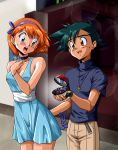 1boy 1girl :o black_hair blue_dress blue_eyes blush bracelet brown_eyes choker dress engagement_ring hairband jewelry kasumi_(pokemon) kurumi-lover looking_back necklace orange_hair poke_ball pokemon pokemon_(anime) proposal satoshi_(pokemon) short_dress short_hair surprised sweatdrop watch watch