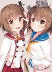 2girls :d blue_sailor_collar blush brown_eyes brown_hair buttons commentary crossover etou_kanami grey_background hair_between_eyes hat highres kantai_collection long_sleeves look-alike multiple_girls nahaki neckerchief open_mouth round_teeth sailor_collar sailor_hat short_hair simple_background smile teeth toji_no_miko yellow_neckwear yukikaze_(kantai_collection)
