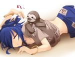 1girl animal animal_on_back blue_hair bracelet closed_eyes commentary_request hair_over_one_eye hemogurobin_a1c jewelry long_hair lying on_stomach short_sleeves sleeping sloth_(animal) touhou yorigami_shion