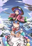 2girls :> blue_hair blush bowl bowl_hat clouds commentary crossed_arms hair_between_eyes hat hinanawi_tenshi holding_needle houshiruri japanese_clothes keystone kimono long_hair long_sleeves minigirl multiple_girls needle on_head puffy_short_sleeves puffy_sleeves purple_hair rainbow_order red_eyes rope sewing_needle shide shining_needle_castle shirt short_hair short_sleeves sukuna_shinmyoumaru touhou upside-down white_shirt wide_sleeves