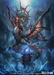 bat_wings bubble copyright_name crystal crystal_ball dragon fish force_of_will nekoemonn no_humans official_art solo underwater wings