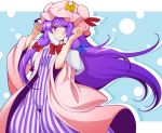 1girl bangs blue_bow blunt_bangs bow capelet crescent crescent_hair_ornament dress eichi_yuu hair_bow hair_ornament hat long_sleeves looking_at_viewer mob_cap patchouli_knowledge purple_hair red_bow solo striped touhou vertical-striped_dress vertical_stripes violet_eyes white_capelet wide_sleeves
