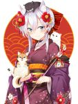 1girl animal animal_ears animal_on_head arrow blue_eyes bow braid dog dog_ears flower french_braid hair_bow hair_flower hair_ornament hairclip hamaya holding holding_animal japanese_clothes kimono new_year obi on_head original sash smile takehana_note white_hair