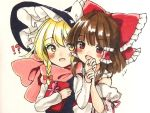 !? +++ 2girls :d blonde_hair blouse blush bow box brown_hair commentary_request d: detached_sleeves gift gift_box hair_bow hair_tubes hakurei_reimu hand_holding hat kirisame_marisa large_bow long_sleeves multiple_girls open_mouth red_eyes scarf smile touhou traditional_media vest wide_sleeves witch_hat yellow_eyes yururi_nano