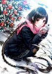 1girl black_hair braid highres kazuharu_kina long_hair original scarf snow snowman solo squatting twin_braids very_long_hair winter