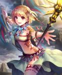 1girl artist_request banner blonde_hair bracelet crystal cygames eyebrows_visible_through_hair hair_ornament jewelry looking_at_viewer necklace official_art radiant_shaman red_eyes revealing_clothes shadowverse shingeki_no_bahamut short_hair smile solo staff strapless tattoo thigh_strap tubetop