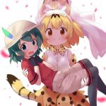2girls animal_ears black_gloves black_legwear blonde_hair blush bow bowtie bridal_veil brown_eyes bucket_hat c: carrying commentary_request elbow_gloves extra_ears eyebrows_visible_through_hair gloves green_eyes green_hair hands_on_own_chest hat hat_feather highres kaban_(kemono_friends) kemono_friends looking_at_viewer makuran multicolored multicolored_clothes multicolored_gloves multiple_girls open_mouth pantyhose pantyhose_under_shorts petals princess_carry print_gloves print_neckwear print_skirt red_shirt serval_(kemono_friends) serval_ears serval_print serval_tail shirt short_hair short_sleeves shorts skirt sleeveless sleeveless_shirt smile tail veil wavy_mouth white_background white_gloves white_hat white_shirt yellow_gloves yellow_neckwear yellow_skirt