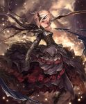 1girl armor armored_boots armored_dress artist_request blonde_hair boots brown_eyes cygames frills hair_ornament high_heels looking_at_viewer melissa_(shingeki_no_bahamut) official_art serious shadowverse shingeki_no_bahamut short_hair solo sword weapon