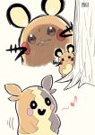 angry behind_tree black_eyes black_sclera chichibu_(chichichibu) commentary dedenne gen_6_pokemon gen_8_pokemon highres looking_at_another morpeko musical_note no_humans open_mouth pokemon pokemon_(creature) shaded_face signature sketch smile stamp_mark tree whiskers