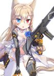 1girl animal_ears assault_rifle babydoll bangs black_footwear black_gloves blue_eyes blush boots breasts chestnut_mouth cleavage collarbone detached_collar elbow_gloves eyebrows_visible_through_hair fang g41_(girls_frontline) girls_frontline gloves groin gun h&k_g41 hair_between_eyes hair_ornament heterochromia holding holding_gun holding_weapon jin_young-in kneeling light_brown_hair long_hair looking_at_viewer medium_breasts navel object_namesake pleated_skirt red_eyes rifle see-through simple_background skirt solo thigh-highs very_long_hair weapon white_background white_legwear white_skirt