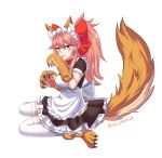 1girl alternate_costume animal_ears apron bell bell_collar breasts cat_paws collar dress enmaided fang fangs fate/grand_order fate_(series) fox_ears fox_tail gloves hair_ribbon highres jingle_bell large_breasts licking looking_at_viewer maid maid_apron maid_headdress o.k.corral paw_gloves paw_shoes paws pink_hair ponytail red_ribbon ribbon shoes simple_background sitting solo tail tamamo_(fate)_(all) tamamo_cat_(fate) tamamo_cat_(fate/grand_order) thigh-highs tongue tongue_out white_background white_legwear yellow_eyes