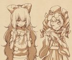 2girls bangle bow bracelet cat coat debt dress drill_hair earrings eyewear_on_head hair_bow hat hat_bow hood hoodie jewelry long_hair monochrome multiple_girls necklace siblings sisters stuffed_animal stuffed_cat stuffed_toy sunglasses top_hat touhou twin_drills urin yorigami_jo'on yorigami_shion