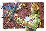 1boy animal bird bird_on_hand blonde_hair book coat frame fullmetal_alchemist glasses long_hair male_focus ponytail urikurage van_hohenheim