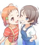 2girls ;d ahoge bangs blue_eyes cheek-to-cheek clover_hair_ornament eyebrows_visible_through_hair grey_hair grin hair_ornament hand_on_hip kanabun love_live! love_live!_sunshine!! multiple_girls one_eye_closed open_mouth orange_hair overalls red_eyes red_shirt shirt short_sleeves smile striped striped_shirt suspenders takami_chika watanabe_you younger