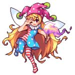 1girl bare_arms blonde_hair clownpiece dress fairy_wings fire full_body hat holding ichi_et jester_cap long_hair looking_at_viewer lowres neck_ruff one_eye_closed pantyhose pink_hat pixel_art polka_dot red_eyes short_dress simple_background solo star star_print striped striped_legwear torch touhou v very_long_hair white_background wings