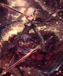 1girl armor armored_boots armored_dress artist_request blonde_hair boots brown_eyes cygames dual_wielding frills hair_ornament high_heels looking_at_viewer melissa_(shingeki_no_bahamut) official_art ruins serious shadowverse shingeki_no_bahamut short_hair solo sword weapon