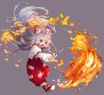 1girl bangs bow fire fujiwara_no_mokou full_body grey_background hair_bow kuroda_(kuro_yyy) long_hair ofuda open_mouth outstretched_arm pants red_eyes red_footwear shirt shoes silver_hair simple_background solo suspenders touhou very_long_hair white_bow white_shirt