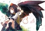 1girl black_hair black_legwear black_wings chobi_(sakuyasakuhana) hat kneehighs looking_away mouth_hold newspaper paper pen pom_pom_(clothes) puffy_sleeves red_eyes shameimaru_aya shirt short_hair short_sleeves simple_background sitting skirt solo string tokin_hat touhou white_background wings