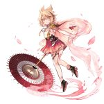 1girl anklet bare_legs black_footwear blonde_hair cherry_blossoms earmuffs elbow_gloves floral_print gloves hair_between_eyes highres holding holding_umbrella jewelry miniskirt oriental_umbrella pink pink_skirt pleated_skirt pointy_hair shan shawl shoes simple_background skirt sleeveless solo tassel touhou toyosatomimi_no_miko umbrella white_background white_gloves yellow_eyes