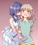 2girls bare_shoulders blonde_hair blue_hair blue_neckwear blush braid breasts cake casual cheek_licking collared_shirt commentary_request dress face_licking falling flat_chest food fork frilled_skirt frilled_sleeves frills fruit furutani_himawari gradient gradient_background green_shirt hair_intakes hair_ornament hairband hairclip hand_on_shoulder licking long_hair medium_breasts mendou_saya multiple_girls nose_blush oomuro_sakurako open_mouth orange_skirt outstretched_arms plate shirt short_sleeves simple_background skirt sleeveless strawberry surprised sweat twin_braids wavy_mouth white_dress yellow_eyes yuri yuru_yuri