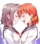 2girls ^_^ ahoge bangs bow bowtie braid closed_eyes forehead-to-forehead grey_hair grin hair_bow kanabun love_live! love_live!_sunshine!! multiple_girls open_mouth orange_hair red_neckwear school_uniform serafuku short_hair side_braid smile takami_chika upper_body watanabe_you yellow_bow