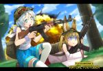 +_+ 2girls :d animal_ears backpack bag blonde_hair blue_eyes blue_skirt blue_sky blurry blurry_background casing_ejection clouds commentary_request crossover day dennou_shoujo_youtuber_shiro detached_sleeves explosion eyebrows_visible_through_hair firing fox_ears gun highres kurione_(zassou) letterboxed logo_parody lying mikoko_(kemomimi_vr_channel) multiple_girls nekomasu_(kemomimi_vr_channel) on_side one_knee open_mouth outdoors playerunknown's_battlegrounds scared shell_casing shiro_(dennou_shoujo_youtuber_shiro) skirt sky smile sweatdrop thigh-highs title_parody tree trembling turn_pale twintails weapon weapon_request white_hair white_legwear wide_sleeves