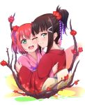 2girls ;) ;d alternate_hairstyle aqua_eyes bangs black_hair branch flower hair_bun hair_flower hair_ornament hair_up hairclip highres hug japanese_clothes kanabun kimono kurosawa_dia kurosawa_ruby looking_at_viewer love_live! love_live!_sunshine!! mole mole_under_mouth multiple_girls obi one_eye_closed open_mouth pink_kimono red_kimono redhead sash siblings sisters smile two_side_up upper_body wide_sleeves