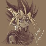 1boy armlet atem bare_shoulders blonde_hair brown_background cape ear earrings forehead_protector jewelry long_hair looking_at_viewer male_focus monochrome multicolored_hair sepia signature simple_background smile solo spiky_hair takahashi_kazuki upper_body yu-gi-oh! yuu-gi-ou_duel_monsters