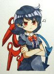 1girl :t absurdres angry asymmetrical_wings blue_dress blue_hair bow bowtie closed_mouth crossed_arms dress eyebrows_visible_through_hair highres houjuu_nue looking_at_viewer marker_(medium) pout red_eyes red_neckwear sasa_kichi short_hair short_sleeves solo touhou traditional_media v-shaped_eyebrows wings wristband