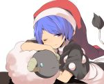 1girl animal blue_eyes blue_hair doremy_sweet dress hasebe_yuusaku hat light_smile looking_at_viewer lying nightcap one_eye_closed pom_pom_(clothes) red_hat sheep short_sleeves simple_background sketch solo tail tapir_tail touhou white_background